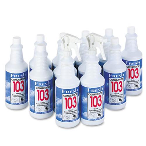 Fresh Products Conqueror 103 Odor Counteractant Concentrate, Lemon, 32oz Bottle, 12/Carton (FRS 12-32WB-LE)