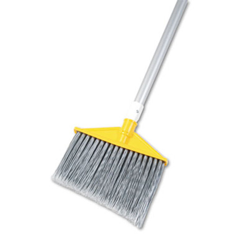 """Rubbermaid Angled Large Brooms, Poly Bristles, 48 7/8"""" Aluminum Handle, Silver/Gray (RCP 6385 GRA)"""