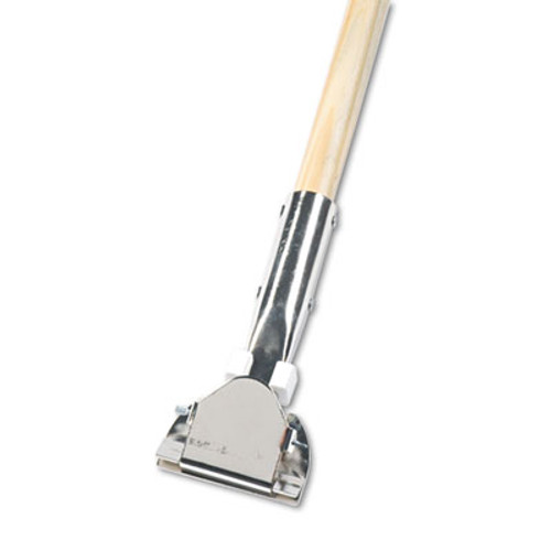 """Boardwalk Clip-On Dust Mop Handle, Lacquered Wood, Swivel Head, 1"""" Dia. x 60in Long (UNS 1490)"""