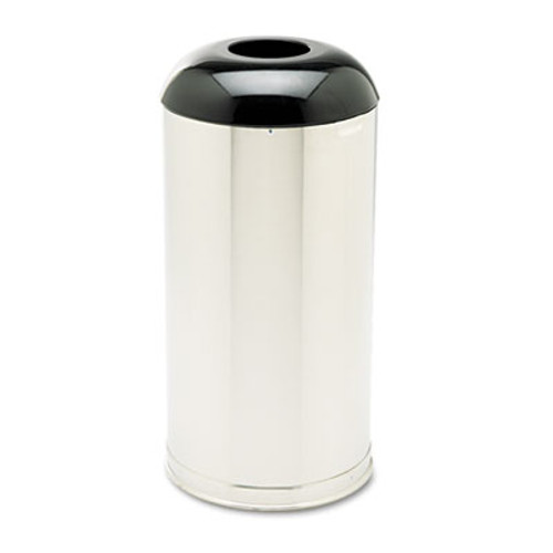 Rubbermaid European & Metallic Drop-In Dome Top Receptacle, Round, 15gal, Satin Stainless (RCP R32SSS)