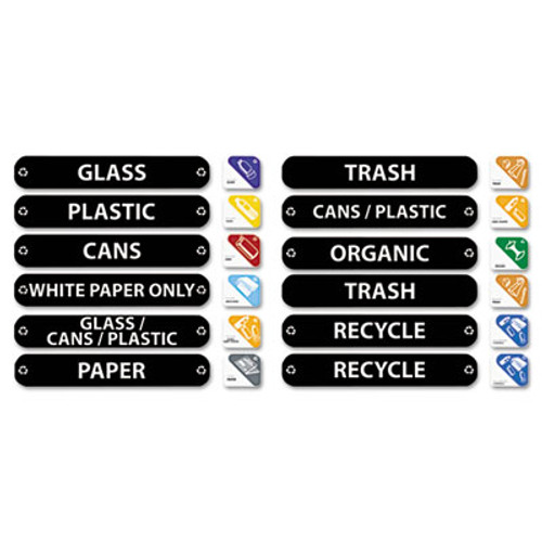 Rubbermaid Recycle Label Kit, 44 Labels in Three Languages, 8 x 1-1/2 (RCP 1792975)