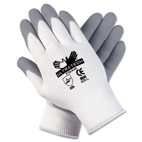 MCR Safety Ultra Tech Foam Seamless Nylon Knit Gloves, Small, White/Gray, 12 Pair/Dozen (MCR 9674S)