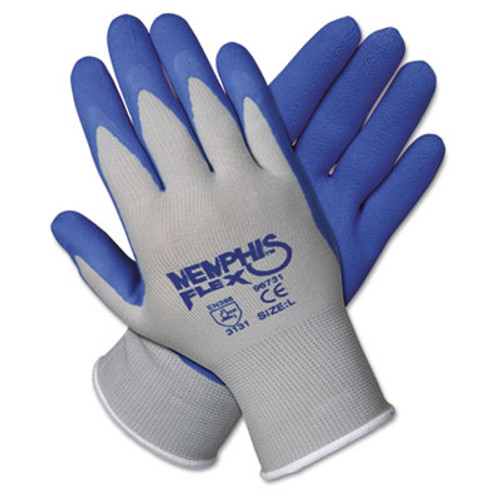 MCR Safety Memphis Flex Seamless Nylon Knit Gloves, Large, Blue/Gray, Pair (CRW96731L)