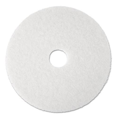 """3M Super Polish Floor Pad 4100, 13"""" Diameter, White, 5/Carton (MCO 08477)"""