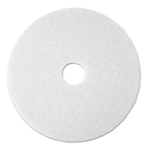 "3M Super Polish Floor Pad 4100, 13"" Diameter, White, 5/Carton (MCO 08477)"