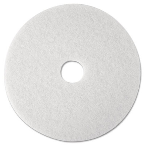 "3M Super Polish Floor Pad 4100, 12"" Diameter, White, 5/Carton (MCO 08476)"