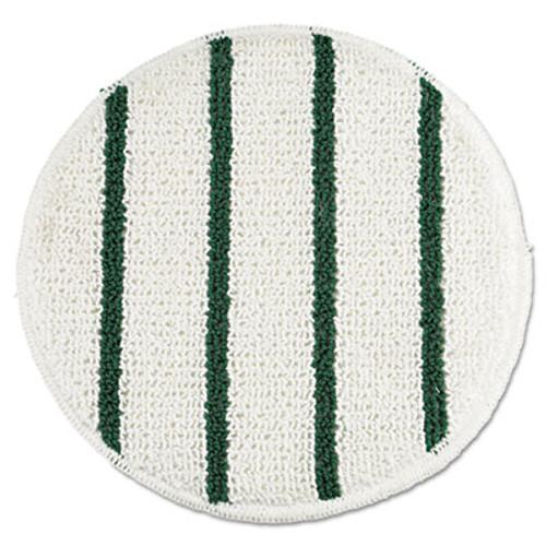 """Rubbermaid Low Profile Scrub-Strip Carpet Bonnet, 19"""" Diameter, White/Green, 5/Carton (RCP P269)"""