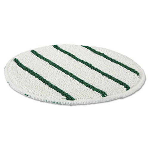 "Rubbermaid Low Profile Scrub-Strip Carpet Bonnet, 19"" Diameter, White/Green, 5/Carton (RCP P269)"