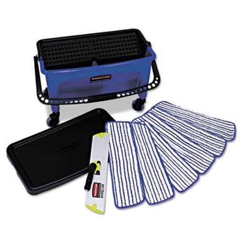 Rubbermaid Microfiber Floor Finishing System, 27gal, Blue/Black/White (RCP Q050)