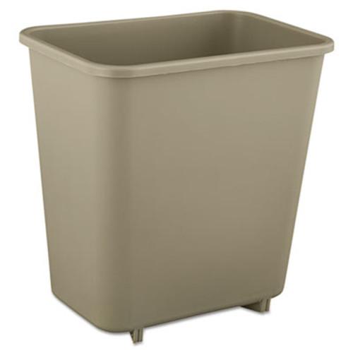 Rubbermaid Deskside Plastic Wastebasket, Rectangular, 2 gal, Beige (RCP 2952 BEI)