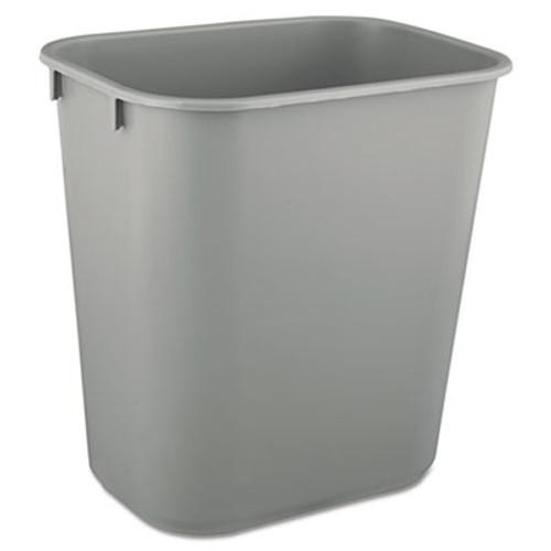 Rubbermaid Deskside Plastic Wastebasket, Rectangular, 3 1/2 gal, Gray (RCP 2955 GRA)