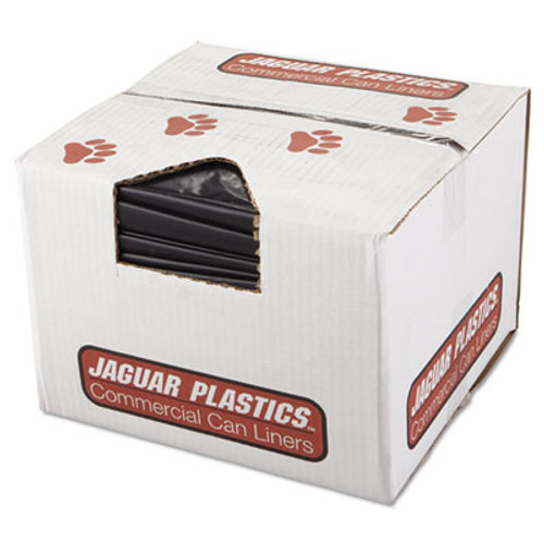 Jaguar Plastics Repro Low-Density Can Liners, 2 Mil, 38 x 58, Black, 10 Bags/Roll, 10 Rolls/CT (JAG R3858HH)