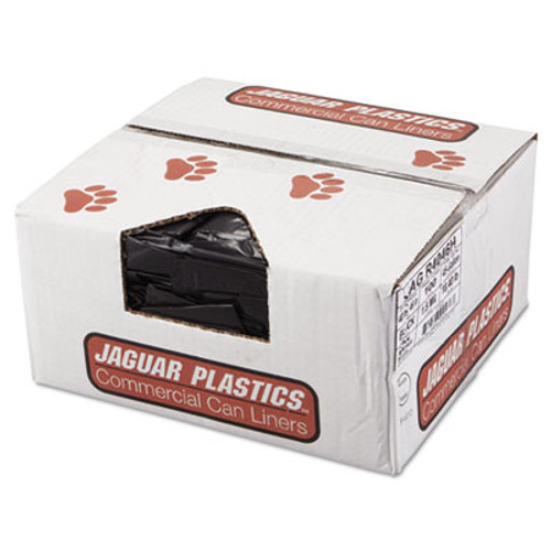 Jaguar Plastics Repro Low-Density Can Liners, 1.5 Mil, 40 x 46, Black, 10 Bags/Roll, 10 Rolls/CT (JAG R4046H)