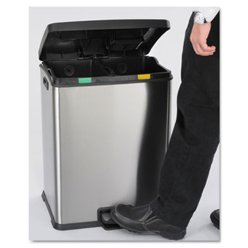 Safco Right-Size Recycling Station, Rectangular, Steel/Plastic, 15gal, Stainless/Blk (SAF9634SS)