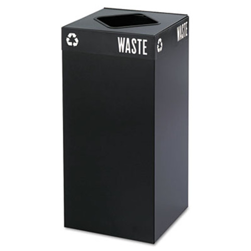 Safco Public Square Recycling Container, Square, Steel, 31gal, Black (SAF2982BL)