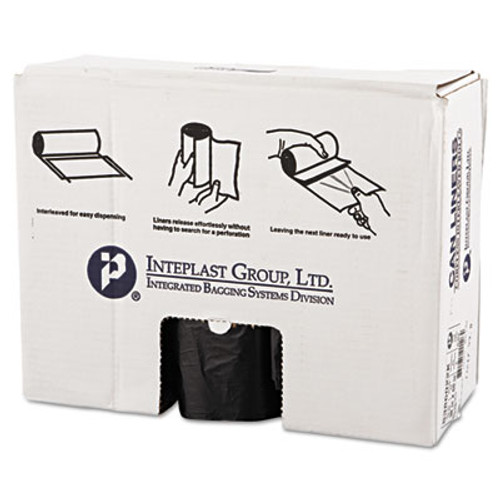 Inteplast Group Commercial Can Liners, 60gal, 38 x 60, 22 Microns, Black, 150/Carton (IBS S386022K)