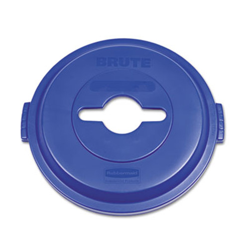 Rubbermaid Single Stream Recycling Top for Brute 32gal Containers, Blue (RCP 1788380)