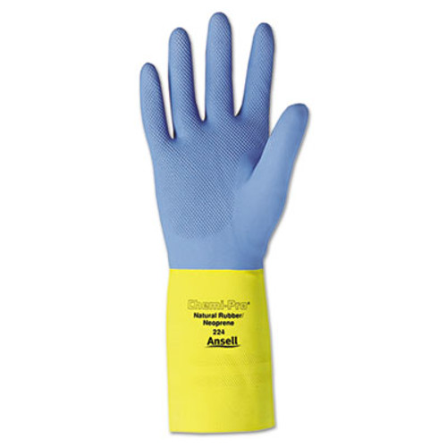 AnsellPro Chemi-Pro Neoprene Gloves, Blue/Yellow, Size 10, 12 Pairs (ANS22410)