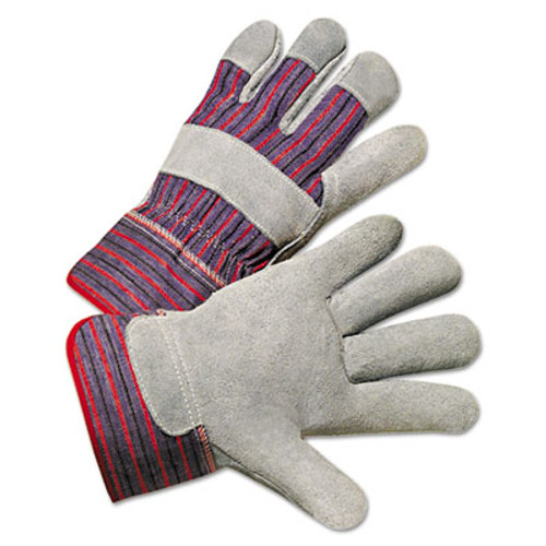 Anchor Brand Leather Palm Work Gloves, Gray/Blue/White, Large, 12 Pairs (ANR2000)
