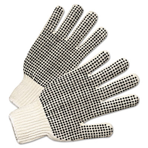 Anchor Brand PVC-Dotted String Knit Gloves, Natural White/Black, 12 Pairs (ANR6705)