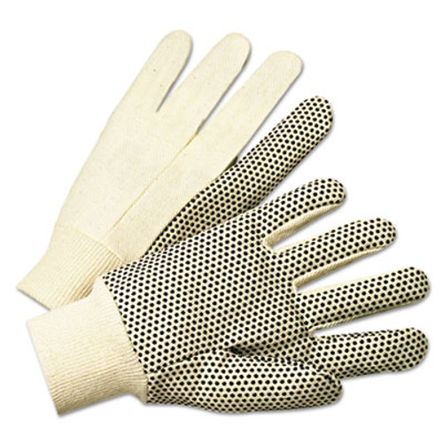 Anchor Brand PVC-Dotted Canvas Gloves, White, One Size Fits All, 12 Pairs (ANR1000)