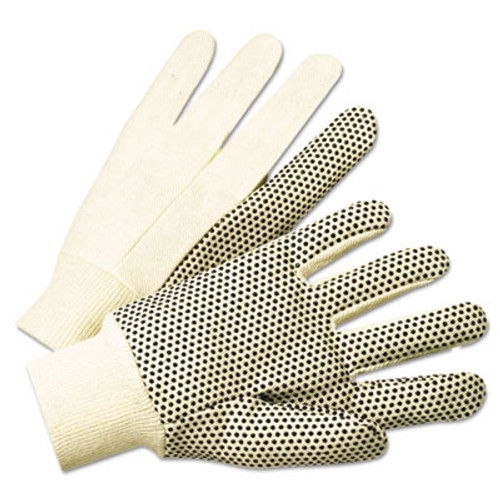 Anchor Brand 1000 Series PVC Dotted Canvas Gloves, White/Black, Large, 12 Pairs (ANR1005)