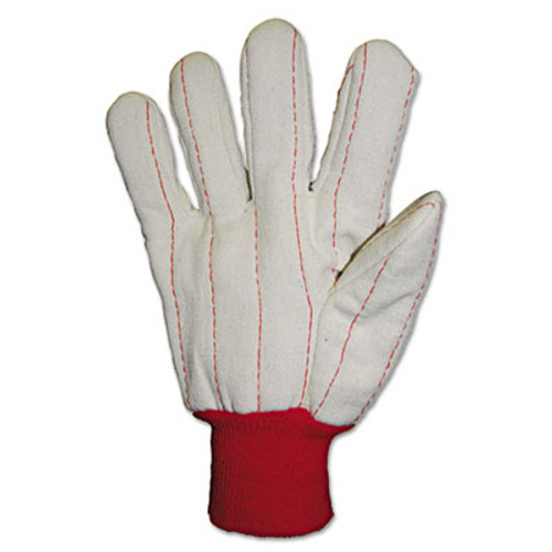 Anchor Brand Heavy Canvas Gloves, White/Red, Large, 12 Pairs (ANR1050)