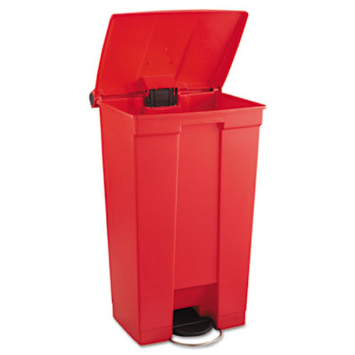 Rubbermaid Indoor Utility Step-On Waste Container, Rectangular, Plastic, 23gal, Red (RCP 6146 RED)
