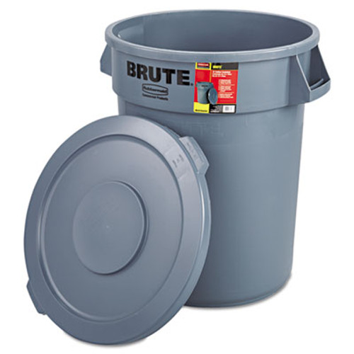 Rubbermaid Brute Container All-Inclusive, Round, Plastic, 32gal, Gray (RCP 8632-92 GRA)