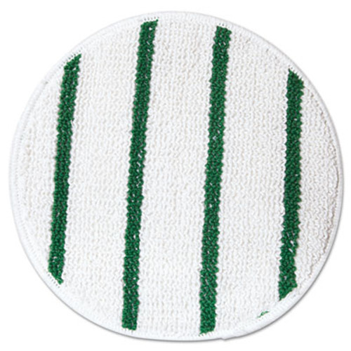 "Rubbermaid Commercial Low Profile Scrub-Strip Carpet Bonnet, 17"" dia, White/Green (RCP P267)"