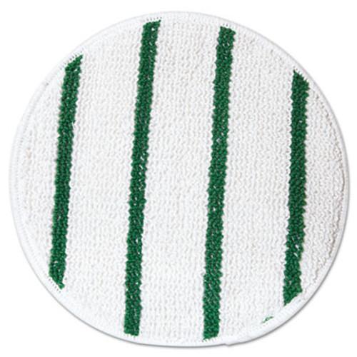 """Rubbermaid Low Profile Scrub-Strip Carpet Bonnet, 17"""" Diameter, White/Green, 5/Carton (RCP P267)"""