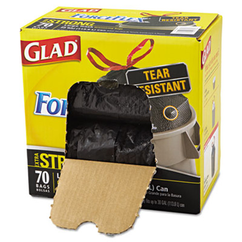 Glad ForceFlexPlus Drawstring Large Trash Bags, 30 gal, Black, 70/BX (CLO 70358)