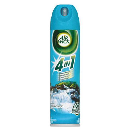 Air Wick 4 in 1 Aerosol Air Freshener, Fresh Waters, 8 oz Aerosol, 12/Carton (REC 77002)