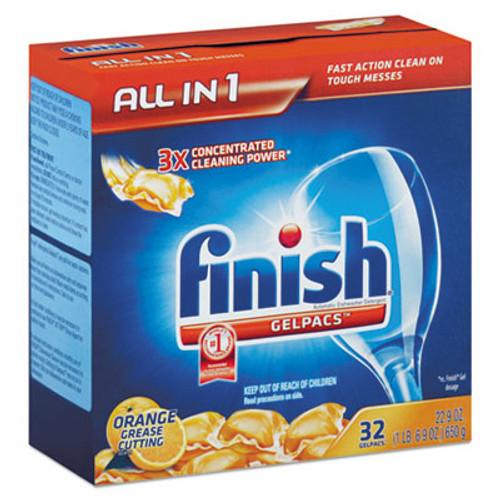 FINISH Dish Detergent Gelpacs, Orange Scent, Box of 32 Gelpacs (REC 81053)