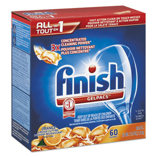 FINISH Dish Detergent Gelpacs, Orange Scent, Box of 54 Gelpacs (REC 81181)