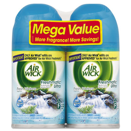 Air Wick Freshmatic Ultra Automatic Spray Refill, Fresh Waters, Aerosol, 6.17 oz, 2/Pack (REC 82093)