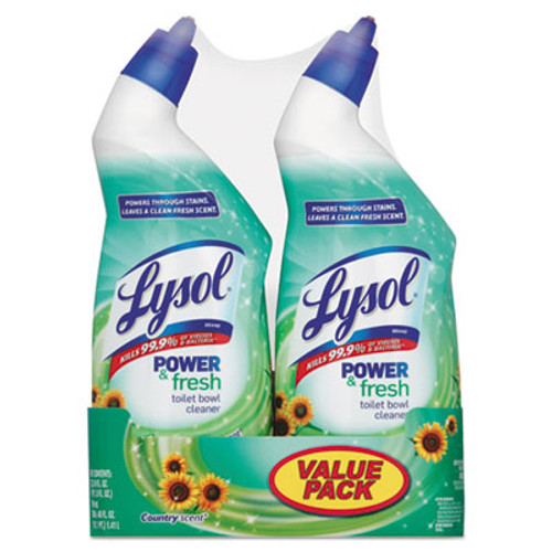 LYSOL Power & Fresh Toilet Bowl Cleaner Cling Gel, Country Scent,24oz 2 Band PK,6PK/CT (REC 82890)