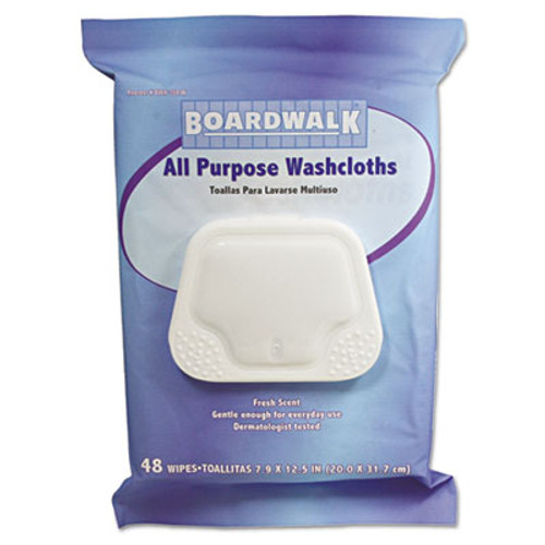 Boardwalk Premoistened Washcloths, 12 1/2 x 7 9/10, Fresh Scent, 48/Pack, 6 Packs/Carton (BWK 359-W)
