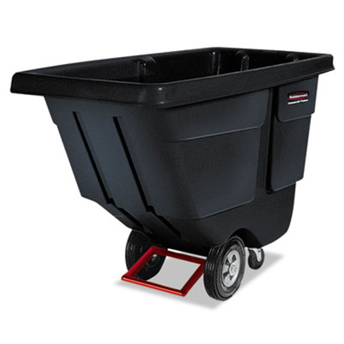 Rubbermaid Rotomolded Tilt Truck, Rectangular, Plastic, 850lb Cap, Black (RCP 1314 BLA)