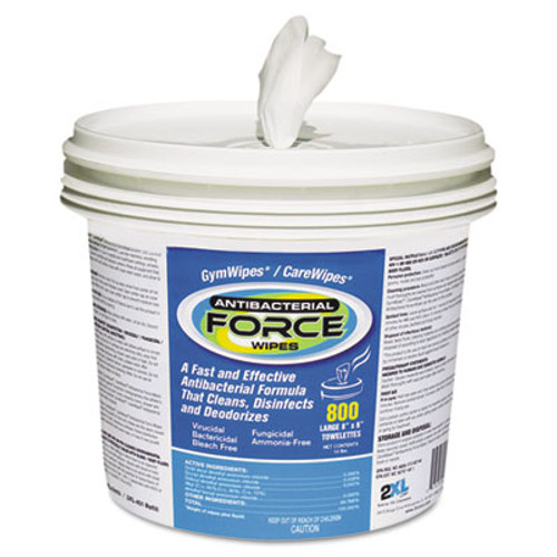2XL FORCE Antibacterial Wipes, 8 x 6, White, 900 Wipes/Bucket, 2 Buckets/Carton (TXL L400)