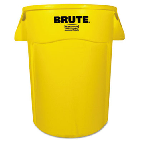 Rubbermaid Brute Vented Trash Receptacle, Round, 44 gal, Yellow (RCP 2643-60 YEL)
