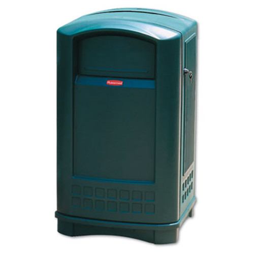 Rubbermaid Plaza Indoor/Outdoor Waste Container, Rectangular, Plastic, 50 gal, Green (RCP 3964 DGR)