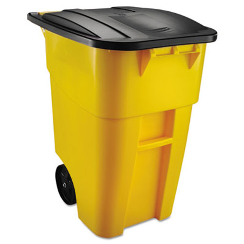 Rubbermaid Brute Rollout Container, Square, Plastic, 50 gal, Yellow (RCP 9W27 YEL)