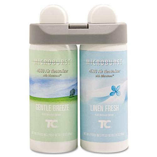 Rubbermaid Microburst Duet Refills, Gentle Breeze/Linen Fresh, 3oz, 4/Carton (TEC 3485949)