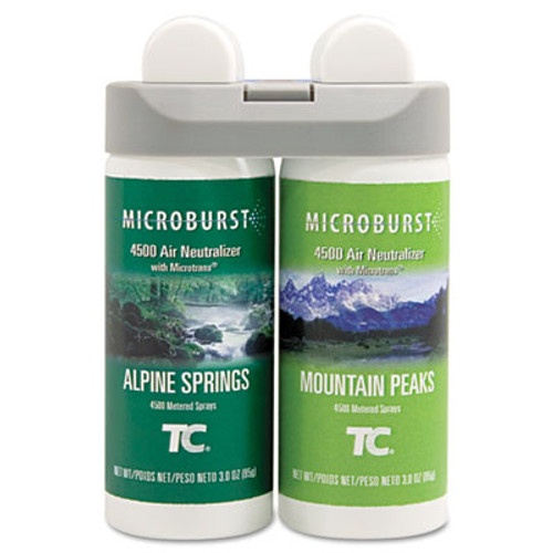 Rubbermaid Microburst Duet Refills, Alpine Springs/Mountain Peaks, 3oz, 4/Carton (TEC 3485950)