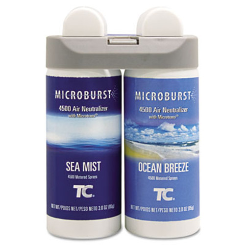 Rubbermaid Microburst Duet Refills, Sea Mist/Ocean Breeze, 3oz, 4/Carton (TEC 3485951)