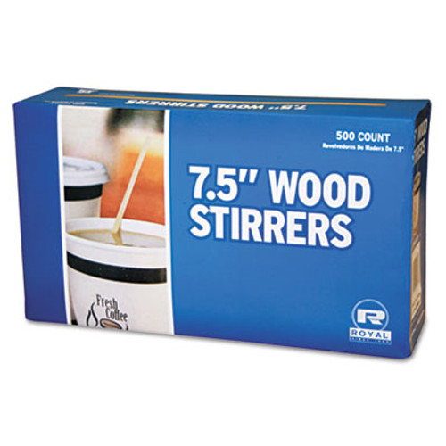 "Royal Paper Wood Coffee Stirrers, 7 1/2"" Long, Woodgrain, 500 Stirrers/Box, 10 Boxes/Carton (RPP R825)"