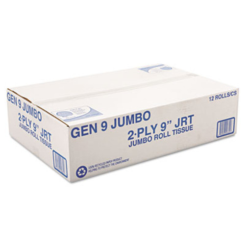 "General Supply Jumbo Roll Bath Tissue, 2-Ply, 9"", White, 12/Carton (GEN 9JUMBO)"