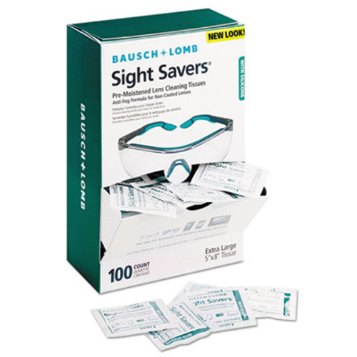 Bausch & Lomb Sight Savers Pre-Moistened Anti-Fog Tissues with Silicone, 100/Box (BLO 8576)