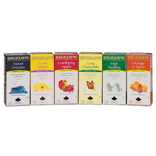 Bigelow Assorted Tea Packs, Six Flavors, 28/Box, 168/Carton (BTC 16578)